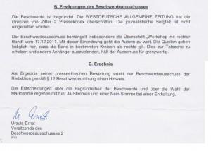 Deutscher Presserat erteilt WAZ einen Hinweis bezüglich Artikel über Die Bandbreite