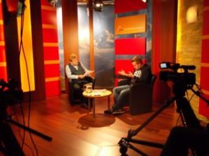 Vorbereitung im Alpenparlament zum Interview mit Wojna